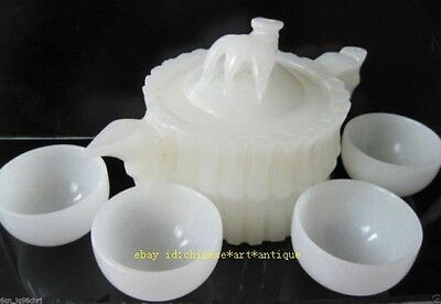 Allow buyers toChinese Natural White Jade Hand-Carved Bamboo Teapot & 4 Cups e01