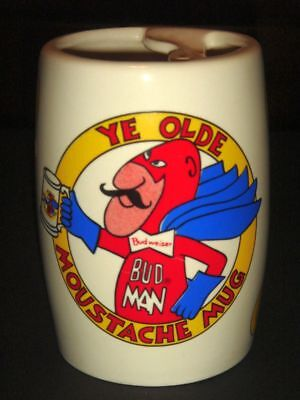 Bud Man Moustache Beer Mug 5 inches tall