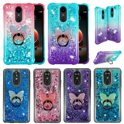 For LG Stylo 4| 4 Plus| Q Stylus| Liquid Glitter Rubber Clear Phone Case Cover
