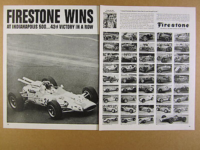 1966 Firestone Tires 43rd INDY 500 Victory in a Row race cars vintage print Ad