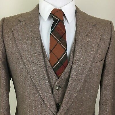 Mens Yves Saint Laurent 38R Blazer Vest Jacket YSL Brown Wool VTG 2 Button