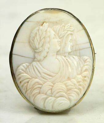 Large Antique Carved Zeus & Hera Cameo Brooch. Laurel Wreath Victorian Brass Pin