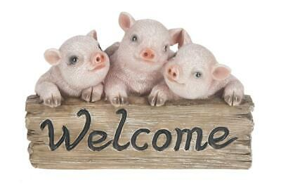 The Country Lifestyle Pig Welcome Figurine
