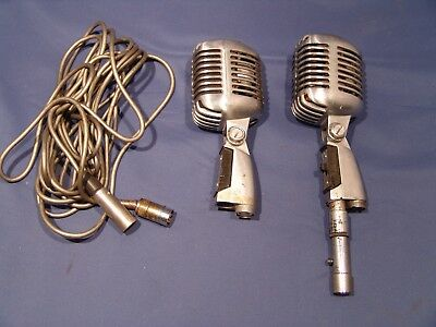 Vintage Lot Of 2 Shure Model 555 Unidyne Dynamic Microphones Retro Untested Asis