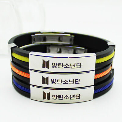 Kpop BTS Candy Color Silicone Wristband Jungkook V Bracelet Bangle ARMY Y5867