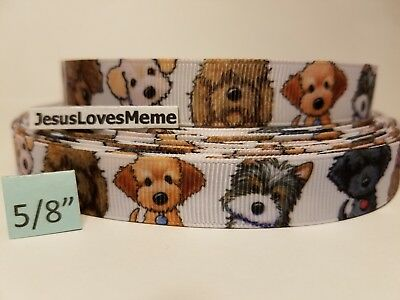 """Grosgrain Ribbon Puppies Puppy Dogs Poodle Terriers Sheepdog Mixed Breeds 5/8"""""""