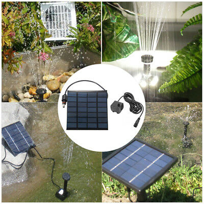 1.2W Outdoor Solar Power Water Panel Fountain Pump Kit Pool Garden Pond BI959