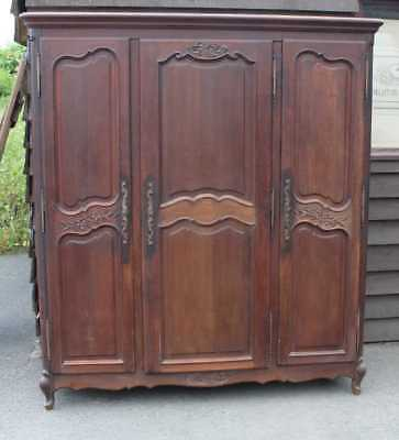 Large 1900's 3 Door Louis XV Style Oak Wardrobe all Shelves or Rail.