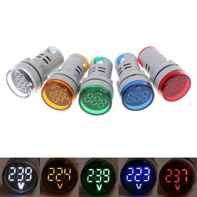 22mm AC 60-500V Digital Voltmeter Voltage Gauge Monitor Indicator Signal Lights