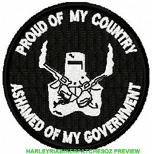 Ashamed Of My Government  .... Biker Vest Patch