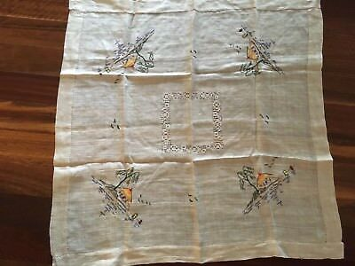 Gorgeous vintage Fine Linen Oriental Seaside Huts embroidered supper cloth exc