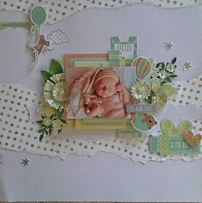 "Handmade Pre-made Mixed Media 12"" x 12"" Scrapbook Page Layout - Baby Boy"