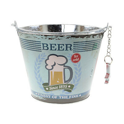 Blue Ice Beer Bucket With Bottle Opener Metal Drinks Wine Beer Champagne Cooler
