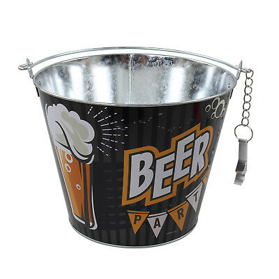 Black Ice Beer Bucket With Bottle Opener Metal Drinks Wine Beer Champagne Cooler