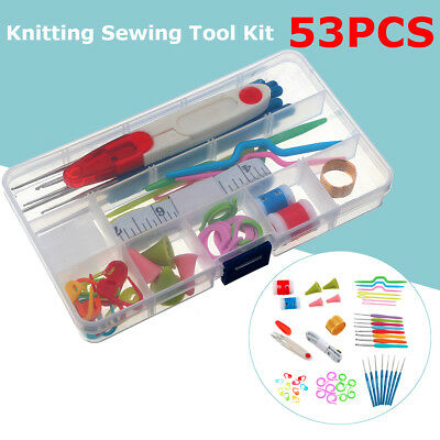 DIY 53 STÜCKE Häkelnadeln Kit Garn Stricknadeln Sewing Tools Grip Set Box