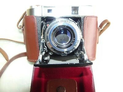 Vtg. Cameera, SEAGULL 203 Folding  Camera, 3.5, 75mm,Leather Csse, Made in China