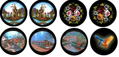 Canal barge ware black Welsh slate coasters