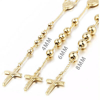 MENDINO Men's Gold Cross Jesus Christ Stainless Steel Pendant Beads Necklace