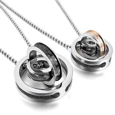 MENDINO His Hers Stainless Steel Pendant Chain Necklace CZ Ring Rotating Couples