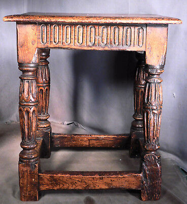 Period 17th-18th Century Jacobean English Oak Joint Stool Table CARVED 1700's