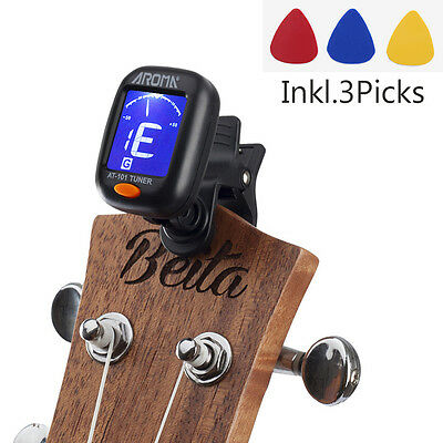LED Clip-on Electronic Digital Guitar Tuners Chromatic Bass Violin Ukulele AT101