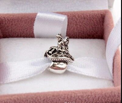 💎🎁 NEW RARE Disney Fairy on Mushroom Charm Fit Pandora 925, Free Gift Bag