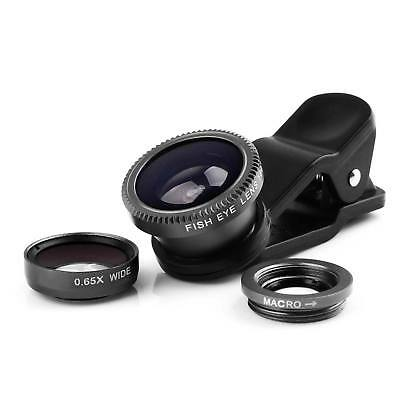 New 3 in 1 Macro Fisheye Lens Wide Angle Clip On Camera Lens Zoom for All Phones