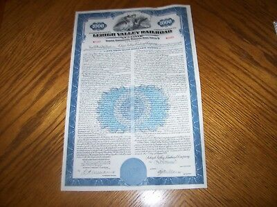Set of 4 Lehigh Valley Railroad Bond Certificates With Coupons. Blue