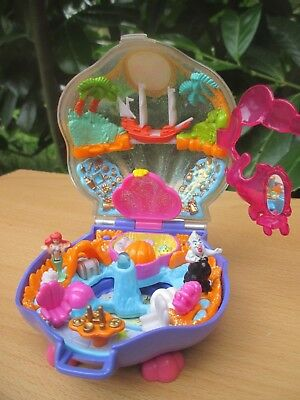 POLLY POCKET mini ARIELLE Meerjungfrau BLUEBIRD 1996 GLITZER MUSCHEL + FIGUREN