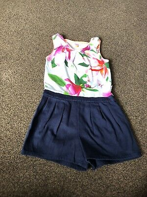 Girls Floral / Navy Ted Baker Playsuit 7-8 Years