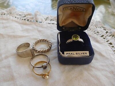 Five Lovely Vintage 1950s/60s/70s/80s Sterling Silver RINGS
