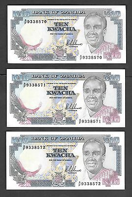 Zambia 10 Kwacha x 3 UNC Banknotes 1989 p31a Sequential Serial Numbers