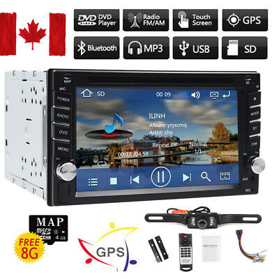 """HD 6.2""""Touch Screen Double 2DIN Car GPS Stereo DVD Player Bluetooth Radio+CAMERA"""