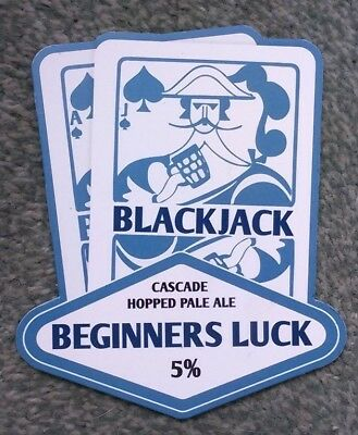 BLACK JACK brewery BEGINNERS LUCK cask ale beer pump clip badge front Manchester