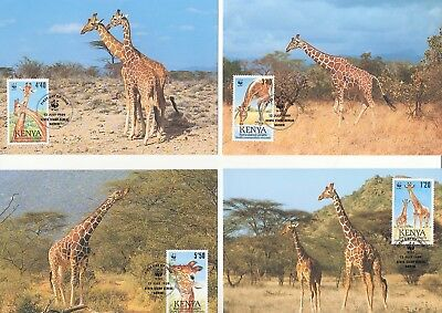 Kenya - 1989 Wwf Reticulated Giraffe - Maxi Cards - Fdi - Set Of 4