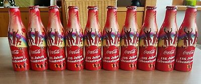 nice coca cola alu bottles from Germany. Empty bottles. 125 years germany