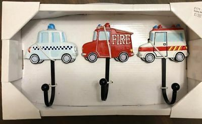 POLICE / FIRE / RESCUE WALL HOOKS Set of 3 Wall Decor Bedroom Boys GCG Studios