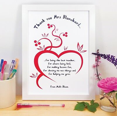 Personalised A4 Poster Teacher Gifts Thank You For Being The Best Teacher