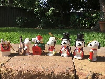 7 Vintage Peanuts Snoopy Ceramic Christmas Ornaments