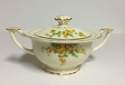 Vintage Double Handle Sugar Bowl with Lid ~Yellow flowers/greens~Homer Laughlin?