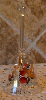 """Pretty Vintage Glass Bell Featuring Strawberries~About 6"""" Tall~Strawberry Bell"""