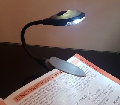 Book Light, Grey, With Clip, Reading Night Light New FREE POSTAGE
