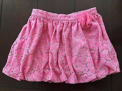Cherokee Toddler Girl Pink Cotton/Nylon Lace Floral Bubble Skirt  size 4T