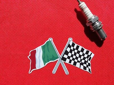Crossed ITALIAN & Chequered Flag 10cm  Italy sticker