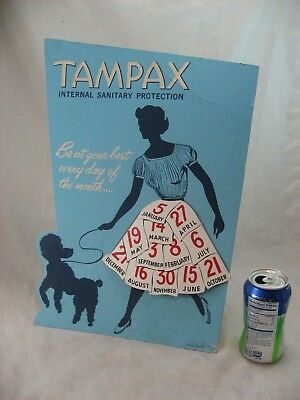 TAMPAX  ADVERTISEMENT STORE COUNTER TOP CARDBOARD SIGN VINTAGE 1950's PUDDLE