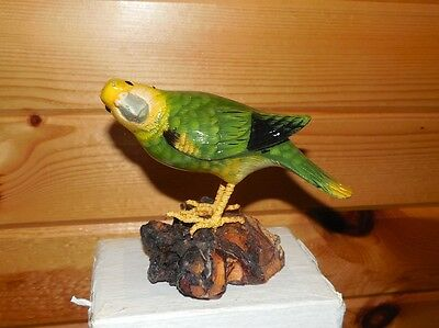 "Parakeet Wood Carved Bird Hand Painted Figurine 4"" Nos"