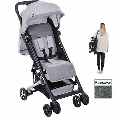 Chicco Mini.mo Silver Lightweight From Birth Pushchair Stroller With Raincover