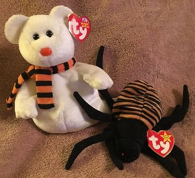 Ty Halloween. Beanie Babies W/tags Quivers Ghost Bear & Spinner Spider
