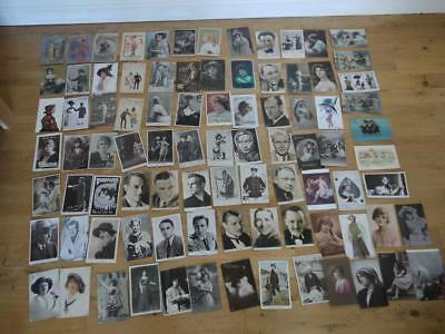 Collection Of 86 Vintage British Postcards Most <1935 Actresses Actor People Rp