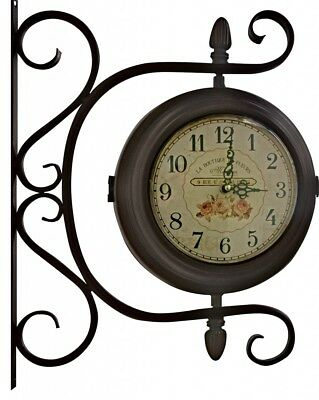Vintage Antique Style Station Wall clock two sided wall clock Ornte Chic NEW